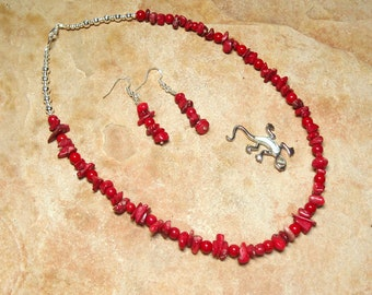 Natural Untreated AAA Grade  Red Coral, 925 Silver Necklace and Earrings