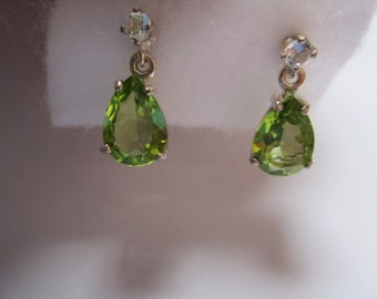 Natural Pear Dangle Peridot Earrings with Accent.