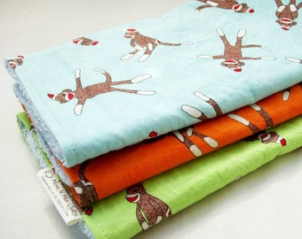 Boutique Burp Cloth Gift Set for Baby Girl or Boy  - Sock Monkey Trio - Lime, Orange & Aqua