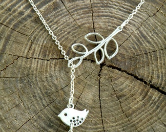 Lariat necklace silver chain necklace mint bridesmaid gift bird necklace bridesmaid jewelry xmas gift/for/mom branch necklace leaf necklace