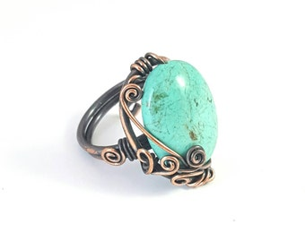 copper wire wrapped turquoise ring.wire wrapped ring.copper wire jewelry. Handmade ring.boho jewelry.R1013