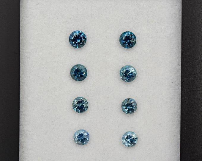 Elegant Steely Blue Sapphire Gemstone Earring Set from Montana 3.01 tcw.