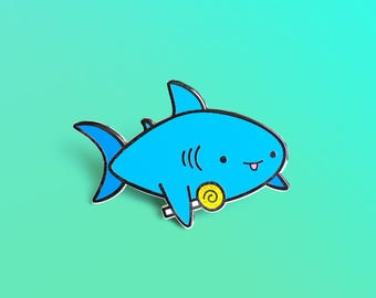 Candy Shark Enamel Pin, Lapel Pin, Kawaii Flair Pin, Shark Pin, Shark, Cute Pins, Enamel Pin, Candy Enamel Pin