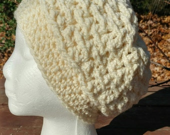 Hand Spun Crocheted Hat off white