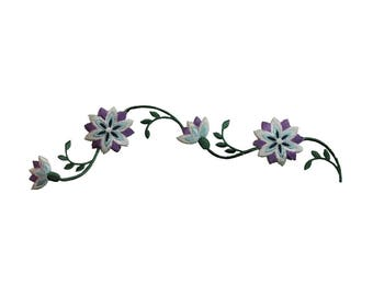 ID 6469 Flowers On Vine Patch Garden Design Blossom Embroidered Iron On Applique
