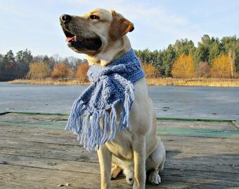 Knit dog scarf for big dog accessories Blue dog scarf for large dogs Pet Neckwear Dog scarves Crochet dog scarf for labrador neck warmer