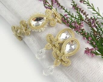 Earrings and bracelet wedding jewelry set for brides, ecru soutache earrings and bracelet, earrings for wedding, bridal jewelry set