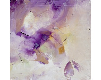 abstract oil painting 12x12in;30x30cm;painting on canvas. Purple Gold - wall art;modern art;no need for frame;colorful;original;home decor