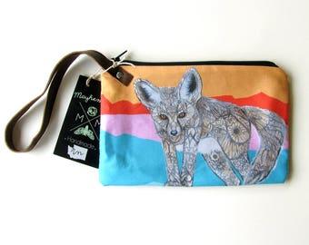 Fennec Fox Wristlet Zipper Bag - Handmade Design