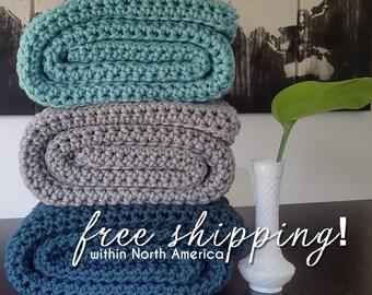 Gray Crochet Blanket, Afghan, Chunky Crochet Throw Blanket, Modern Chunky Throw, Grey Blanket