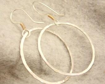 Silver and Gold Hoop Earrings, Hammered Hoop Earrings, Sterling Silver and Gold Filled Earrings