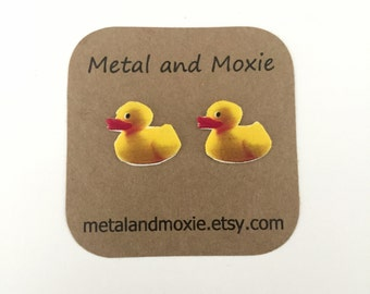 Yellow Rubber Ducky Stud Earrings, Yellow Duck, Under 10 Dollars, Jewelry Gift
