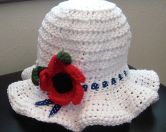 Sun Hat, Red, White, and Blue, Toddler, Handmade