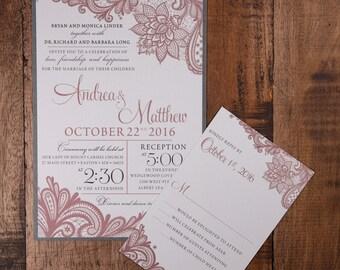 Vintage Pink Wedding Invitation, Lace Wedding Invitation, Lace Invitation, Wedding Invitations, modern wedding invitation, modern invites