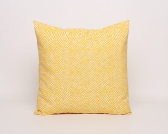 Yellow & White Chevron Throw Pillow Cover, Pillow Cover, Corn Yellow Cameron Pattern. Cover is Designed to Fit 16, 18, 20 or 22 Inch Inserts