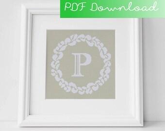 Grace Wreath Monogram (P) Cross Stitch PDF Pattern Digital Download
