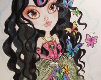 Monarch Butterfly Big Eye Low Brow Art Print by Leslie Mehl Art