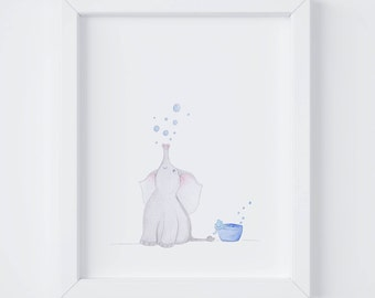 Baby Elephant Bubbles, Art for kid's spaces, Art Print, Nursery Art, Kid's Room Decor