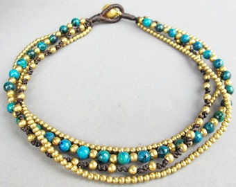 Multi Line Chrysocolla Brass Bead Beaded Ankle Bracelet