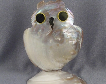 Abalone Shell Owl Figure // Hand Carved // Pocket in Back // Shiny // Shimmery // Bright