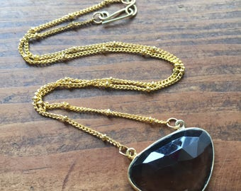 Smokey Quartz Fan Necklace