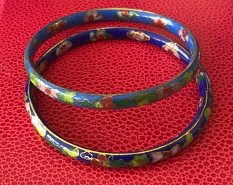 Beautiful Cloisonne Flower Covered Navy and Royal Blue Enamel Bangle Bracelet Set