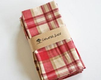red plaid cloth dinner napkins cloth christmas napkins set of 4 eco - Christmas Napkins Cloth