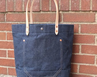 Waxed Denim Tote Bag with Leather Handles/Extra Pocket- Large Denim Tote