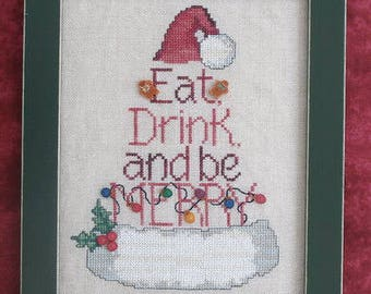 INSTANT DOWNLOAD Waxing Moon Designs Eat Drink and Be Merry PDF cross stitch patterns holidays Santa Claus Hat Christmas