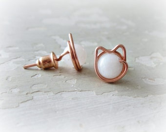 Cat Stud Earrings,Copper Cat Earrings,White Agate Studs,White Cat Studs, White Cat Earrings,Copper Stud Earrings, Crazy Cat Lady, Cat Lover