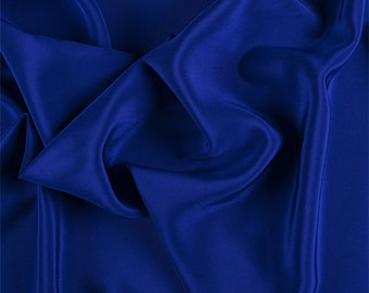Blue Silk Crepe de Chine, Fabric By The Yard