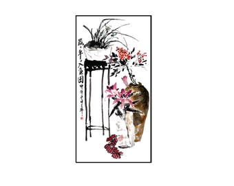 Watercolor Painting,Flower Watercolor Painting, Flower Vase Painting,Wall Decor,Wall Art, Giclee Paper Print,Vertical Painting,Free Shipping