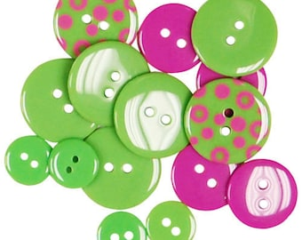 set of 15 buttons plain and round 3 sizes