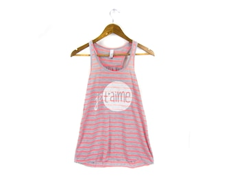 SAMPLE SALE Je T'aime Tank - Scoop Neck Racerback Swing Tank Top in Heather Grey and White Stripe - Women's Size M