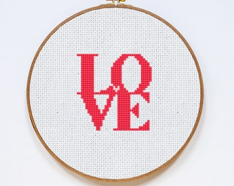 Love Cross Stitch Pattern, Valentine's Day East Cross Stitch Chart, Fast Easy Cross Stitch Gift, Postcard, PDF Format, Instant Download