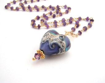Amethyst Pendant Necklace, Rosary Style, Heart Pendant, Gold, Purple, Blue, February Birthstone