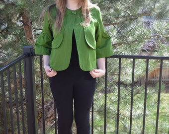Vintage cropped jacket, French smock, Runway, Bell sleeve,