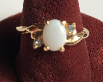 Gold Plated Opal Ring-Size 8 1/2