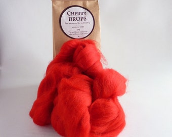 Bright red merino roving, 25g (1oz)  Cherry Drops, 21 micron, merino roving, felting wool, needle felting wool, wet felting, red roving,