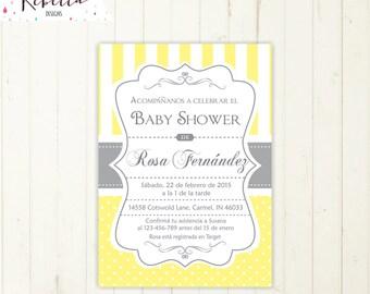Baby Shower Invitation Spanish Boy Or Girl Baby Shower Spanish Invite  Invitacion Imprimible En Español Invitacion