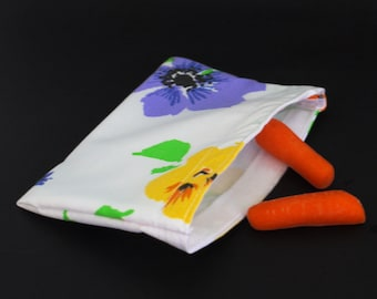Reusable Snack Size Bag.  Recycled fabric.