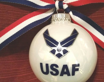 Military Ornaments - USArmy  USN  USMC  USAF