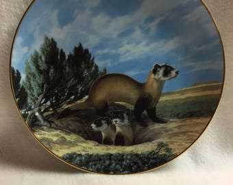 W.L. George Last of Their Kind - Endangered Species Collector Plate - 'The Black-Footed Ferret' (#128)