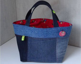 Recycled blue jean fabric basket, lined with cotton red with Strawberry pattern