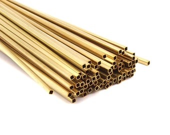 Brass Himmeli Tubes, 24 Raw Brass Himmeli Diy Square Tubes , For Air Plants , Geometric Shapes Customize Size