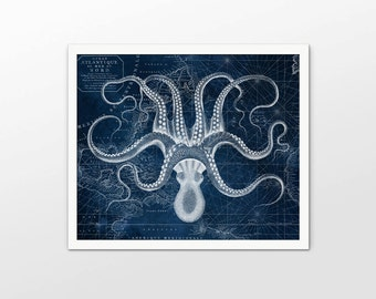 Octopus Wall Art Poster - Octopus Navy Blue Ink Drawing Art Print - Octopus Drawing On Vintage Chart Print - Octopus Marine Biology - AB643