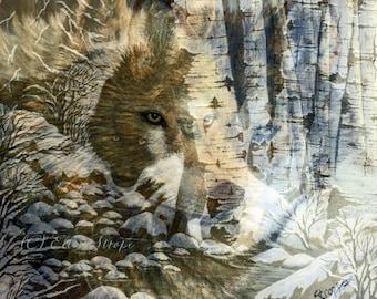 CARD, note card, wolf, black wolf, wolves, collages,aspen trees, wolf decor, Ellen Strope, castteam, cabin decor, lodge decor, rustic decor