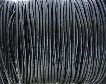 2mm Shiny Black Round Leather Cord 1 yard to 25 Yards Made In India - LCR2-123