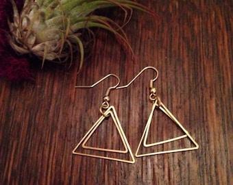 Triangle earrings, brass earrings, boho jewelry, drop earrings