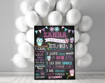 Owl First Birthday Chalkboard {ANY AGE} - Totally Customizable!